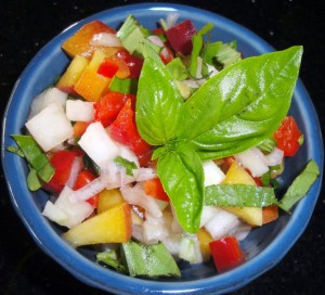 Mango Salsa uses kohlrabi in place of jicama for a gluten-free adornment for grilled meats.