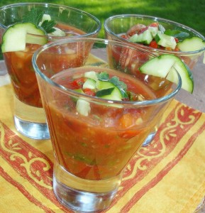 Gluten-Free Gazpacho in over-size shot glasses