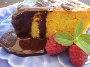 Grain-Free Orange Cake with Chocolate Sauce