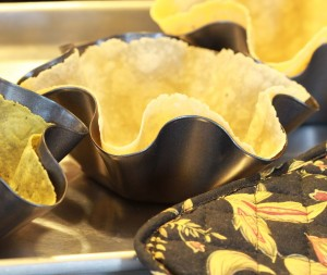 Gluten-free flour tortillas bake into crispy shells.