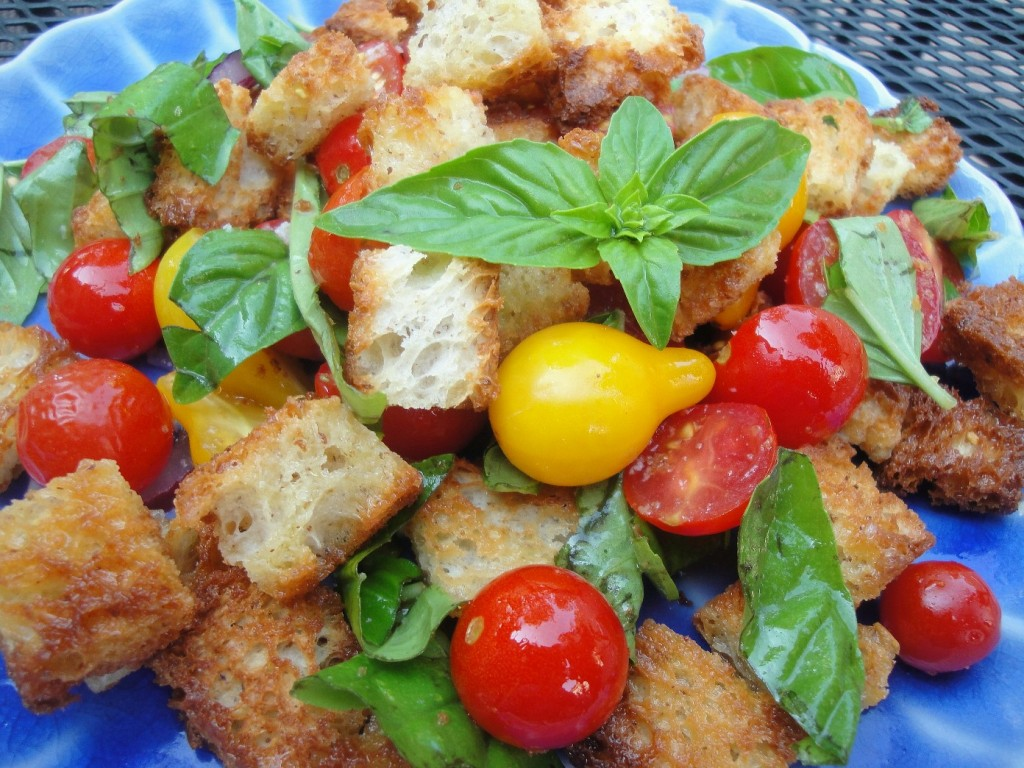 Gluten-free bread, tomatoes, and fresh basil make a delightful bread salad.