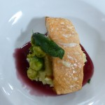 Salmon on Celery Root Puree with Brussels Sprouts