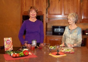 "Carol Fenster with hostess, Sheryl Borden, on ""Creative Living with Sheryl Borden"" on PBS-TV"