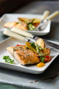 Sheet-Pan Supper of Roasted Fish & Vegetables